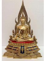 พระพุทธชินราช ทองเหลือง หน้าตัก 9นิ้ว ขัดเงา ฐานสูง