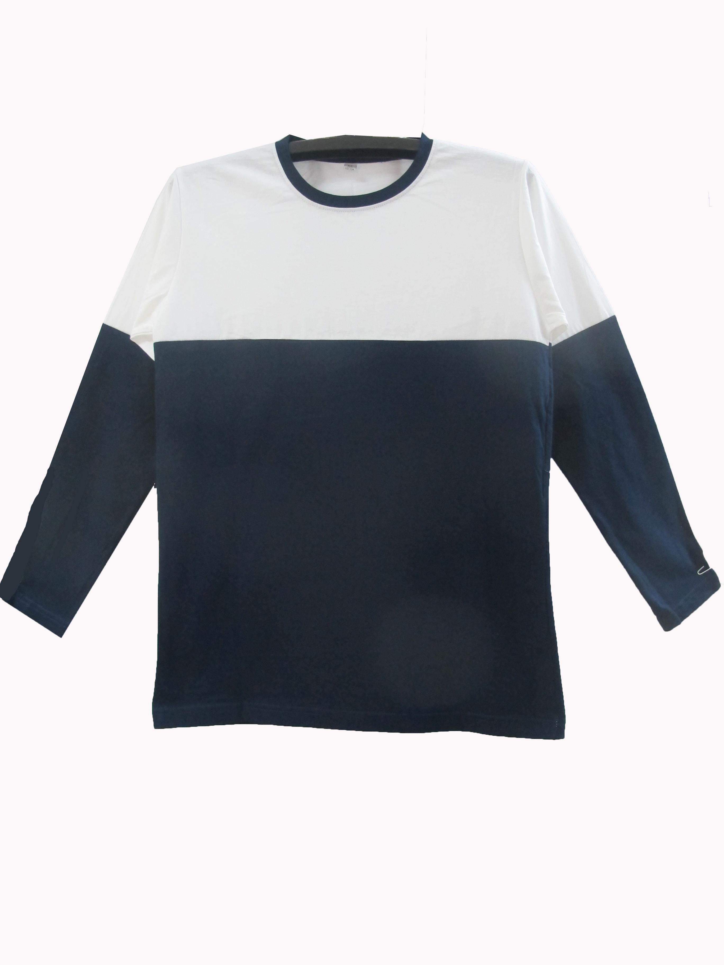 เสื้อแขนยาวตัดต่อข้างบนขาวข้างล่างสี สีกรม