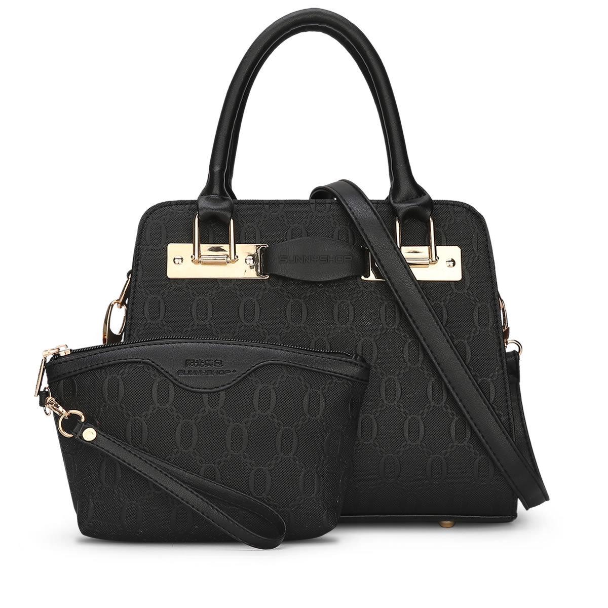 พร้อมส่ง กระเป๋าถือและสะพายข้าง เช็ต 2 ใบ กระเป๋าหรูคุณนายแฟชั่นเกาหลี Sunny-711 แท้ สีดำ