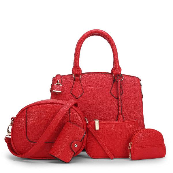 พร้อมส่ง กระเป๋าถือและสะพายข้าง เช็ต 5 ใบ กระเป๋าหรูคุณนายแฟชั่นเกาหลี Sunny-721 สีแดง 2 เช็ต