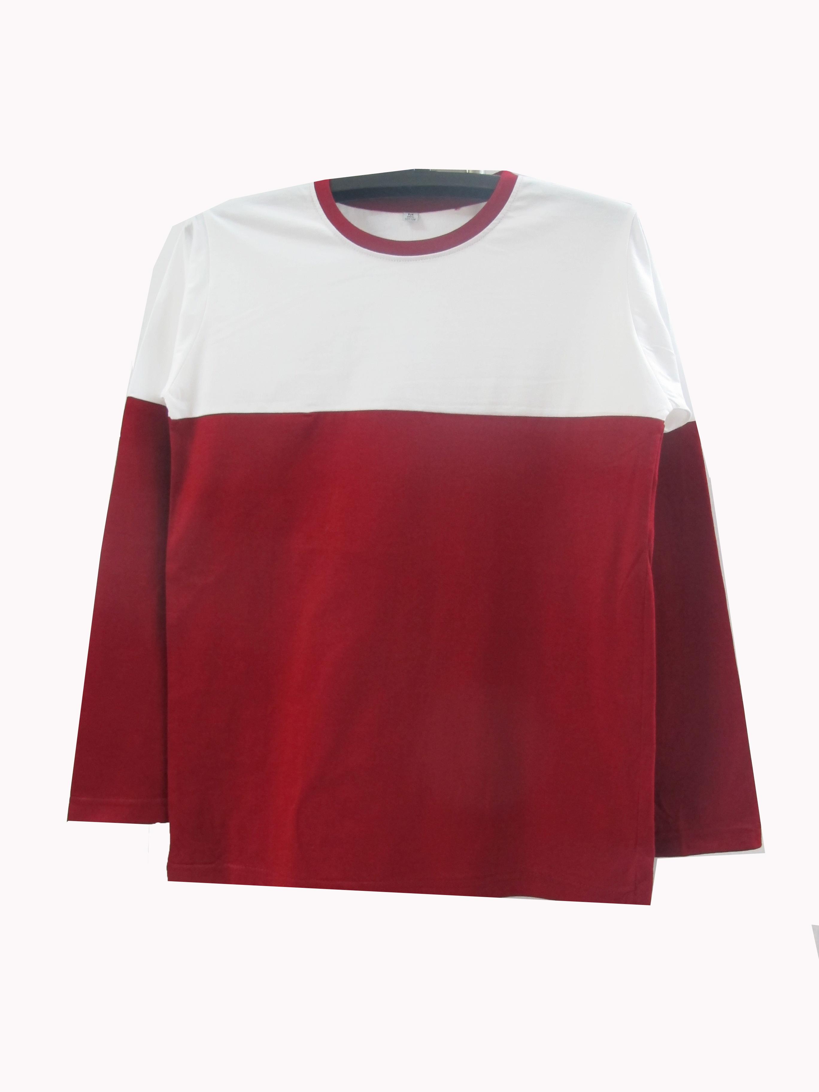เสื้อแขนยาวตัดต่อข้างบนขาวข้างล่างสี สีเลือดหมู