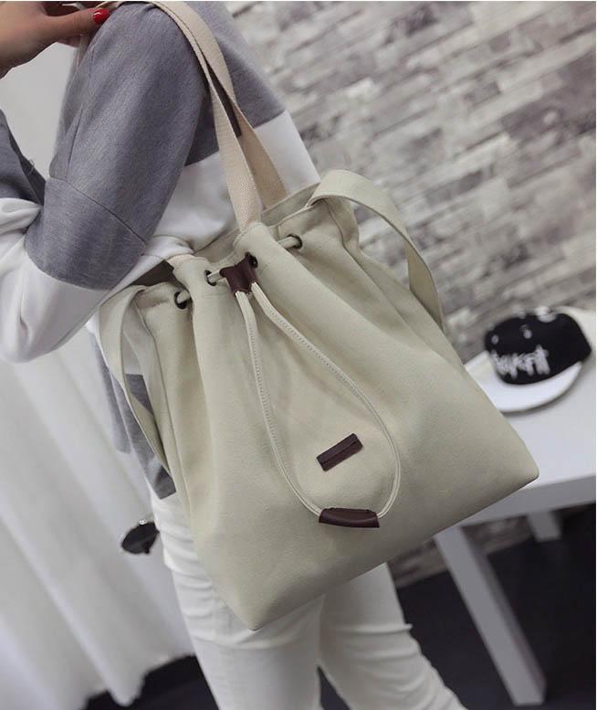 ขายส่ง กระเป๋าผ้า สะพายไหล่ *ซีรีย์ Descendants of the Sun*แฟชั่นเกาหลี Fashion รหัส NA-895 สีขาว