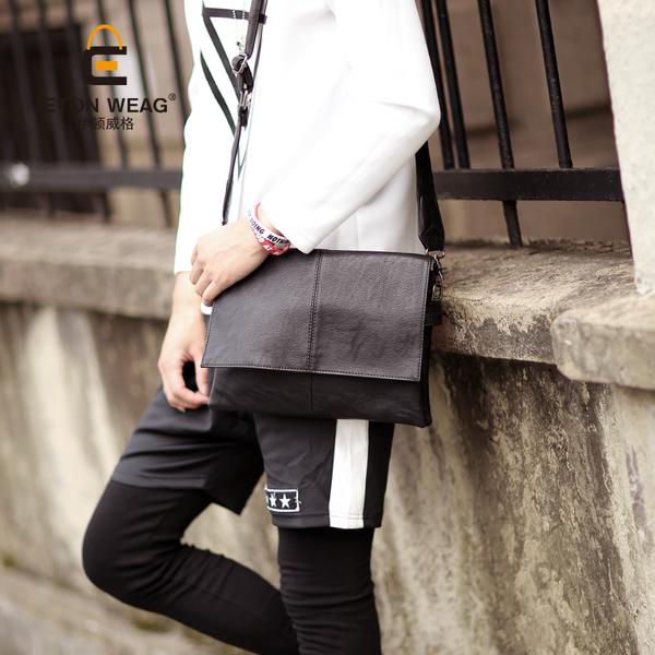 พร้อมส่ง กระเป๋า ผู้ชายสะพายข้าง หนังนิ่ม แฟชั่นเกาหลี ใส่ iPad 9.7 นิ้วรหัส Man-6002 สีดำ