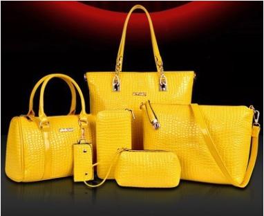 พร้อมส่ง กระเป๋าถือและสะพายแฟชั่นเกาหลี เช็ต 6 ใบ รหัส Fe-796 สีเหลือง 1 เช็ต