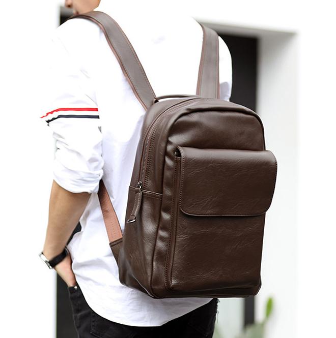 พร้อมส่ง กระเป๋าเป้สะพายหลัง นักเรียนเแฟขั่นเกาหลี รหัส Man-9801-7 สีกาแฟ
