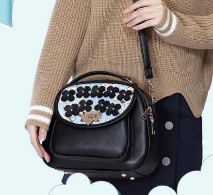 ขายส่ง กระเป๋าสะพายไหล่และกระเป๋าถือ เรียบง่าย แฟชั่นเกาหลี Sunny-915 สีฟ้า