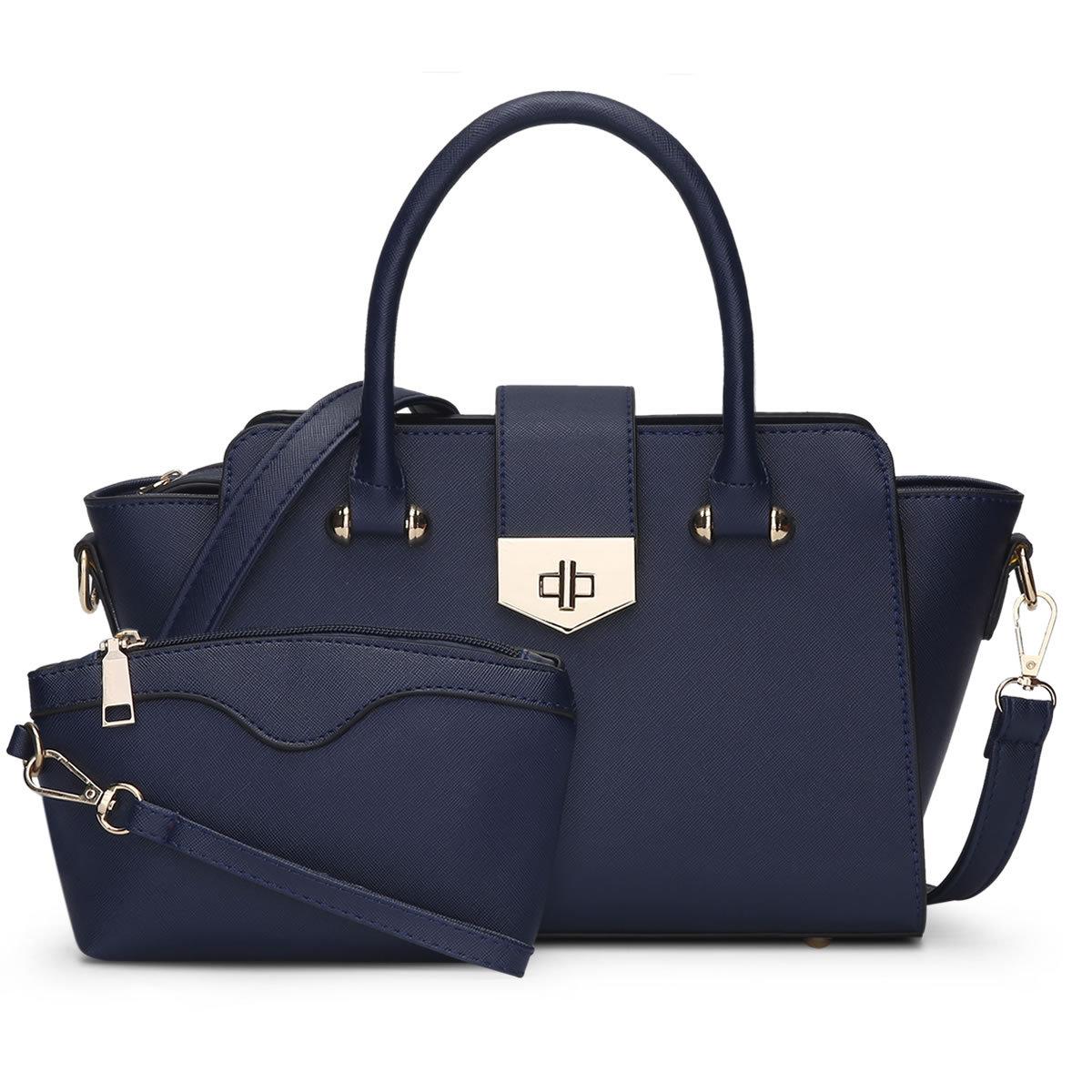 ขายส่งกระเป๋าผู้หญิงถือและสะพายข้าง เซ็ต 2 ใบ ทรงปีก แต่งล๊อกหน้า แฟชั่นเกาหลี Sunny-838 สีน้ำเงิน
