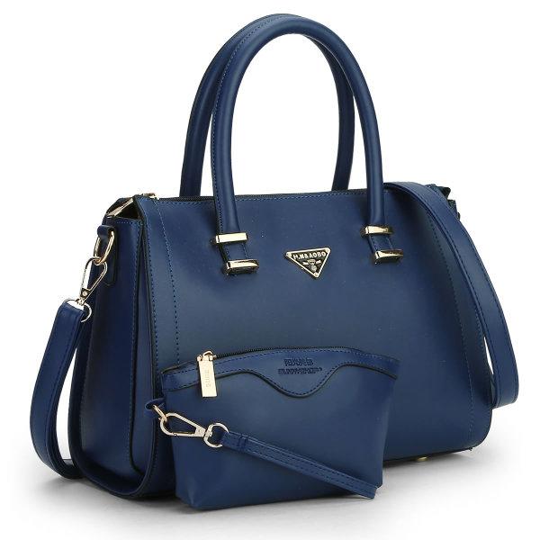 พร้อมส่ง กระเป๋าถือและสะพายข้าง เซ็ต 2 ใบ แฟชั่นเกาหลี Sunny-665 แท้ สีน้ำเงิน
