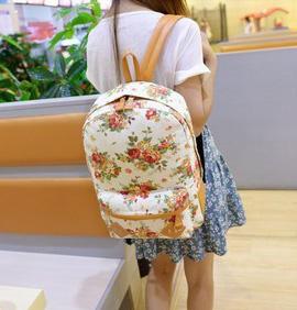 พร้อมส่ง กระเป๋าเป้ผ้า สะพายหลัง ลายดอกไม้ เป้เดินทาง เป้นักเรียนผู้หญิงแฟชั่นเกาหลี Fashion bag รหัส G-175 สีขาว 1 ใบ