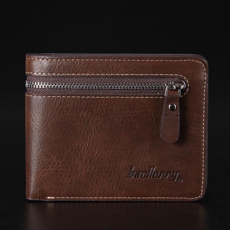 พร้อมส่ง กระเป๋าสตางค์ใบสั้นผู้ชาย นักธุรกิจ แต่งซิป แฟชั่นเกาหลี ยี่ห้อ baellerry รหัส BA-128-1 สีน้ำตาลเข้ม ทรงนอน *ไม่มีกล่อง