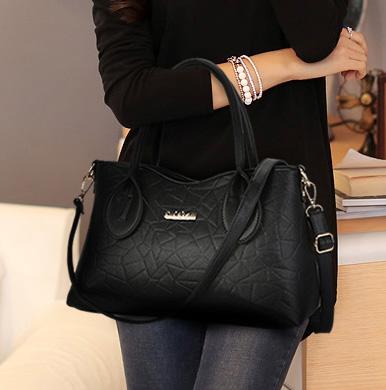 พร้อมส่ง กระเป๋าถือและสะพายข้าง กระเป๋าหรูคุณนายแฟชั่นเกาหลี Sunny-636 แท้ สีดำ
