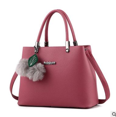 ขายส่ง กระเป๋าถือและสะพายข้างผู้หญิง กระเป๋าทำงาน แฟชั่นเกาหลี รหัส KO-949 สีชมพูเช้ม *แถมพู่เชอรี่