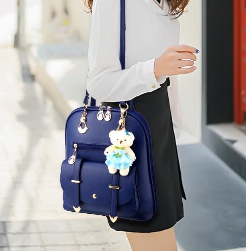 พร้อมส่ง กระเป๋าเป้สะพายหลัง และสะพายข้าง ผู้หญิง แฟชั่นเกาหลี รหัส KO-633-2 สีน้ำเงินเข้ม +ตุู๊กตาหมี