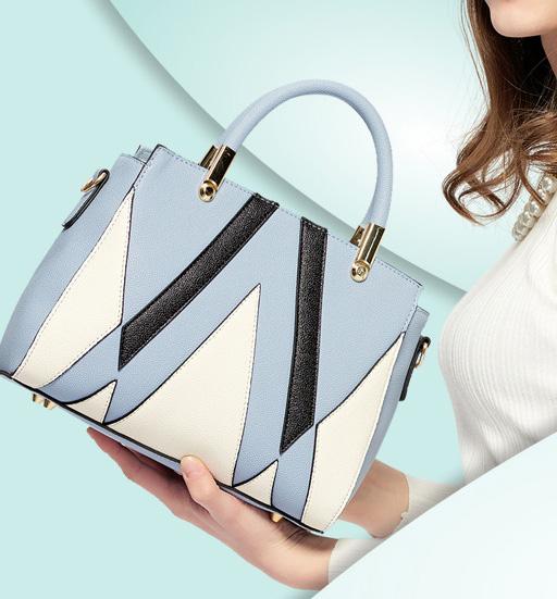 ขายส่งกระเป๋ากระเป๋าถือและสะพายข้าง ตัดเย็บสลับสีแฟชั่นเกาหลี Sunny-913 สีฟ้า