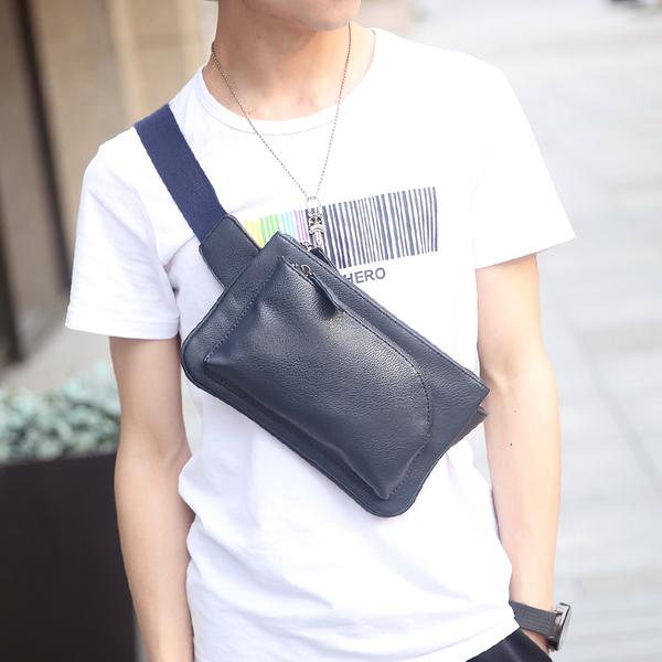พร้อมส่งกระเป๋าผู้ชายคาดไหล่แฟขั่นเกาหลี รหัส Man-8076 สีน้ำเงิน