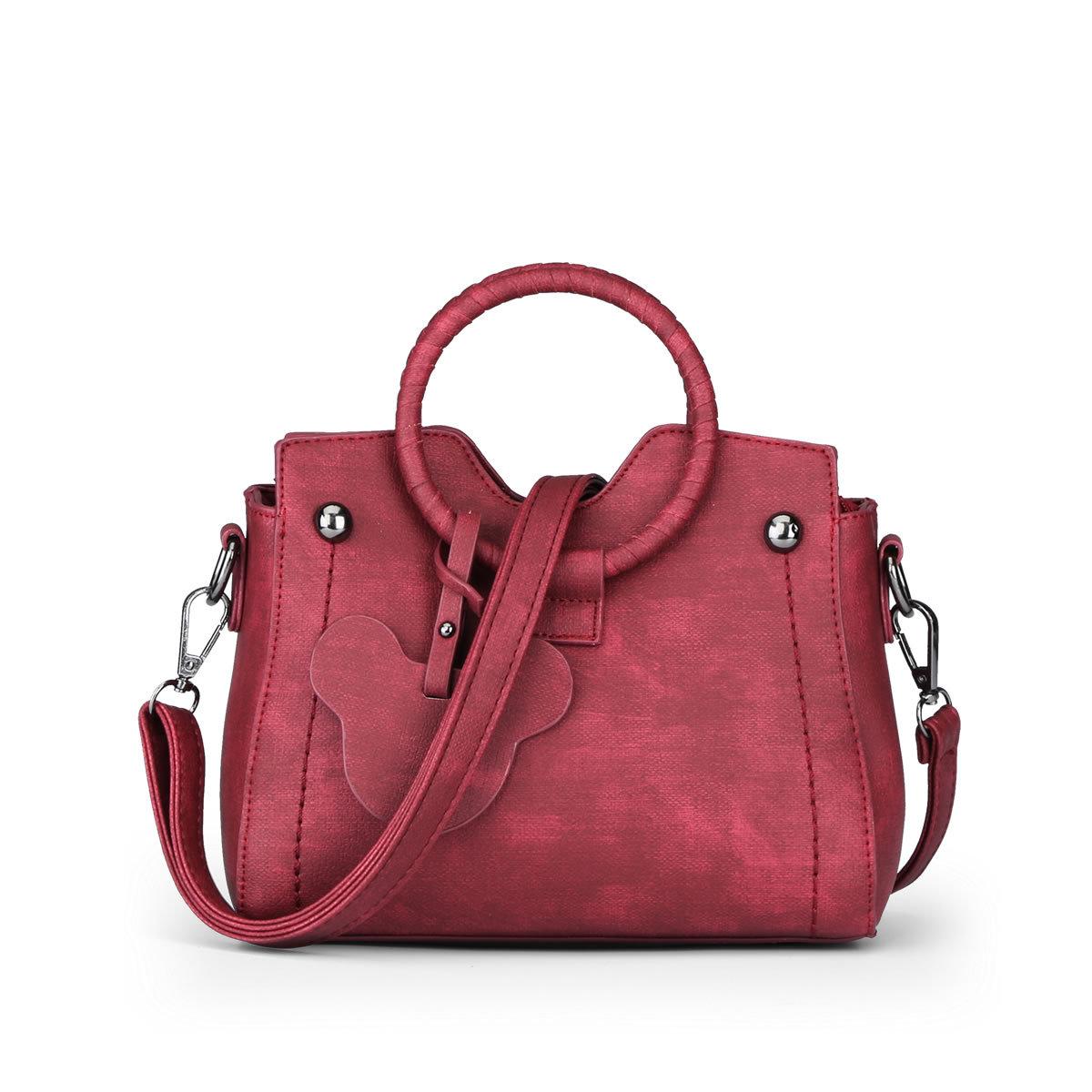 ขายส่งกระเป๋าสะพายไหล่และกระเป๋าถือ ใบเล็ก หูโค้งจับ แฟชั่นเกาหลี Sunny-909 สีแดง
