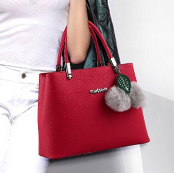 ขายส่ง กระเป๋าถือและสะพายข้างผู้หญิง กระเป๋าทำงาน แฟชั่นเกาหลี รหัส KO-949 สีไวน์แดง *แถมพู่เชอรี่