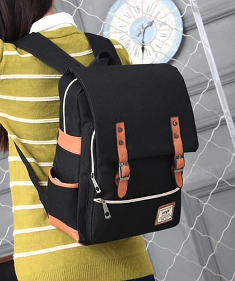 พร้อมส่ง กระเป๋าเป้ผ้า สะพายหลังนักเรียน วัยรุ่น นักศักษา เป้เดินทาง แฟชั่นเกาหลี รหัส G-635 สีดำ 2 ใบ
