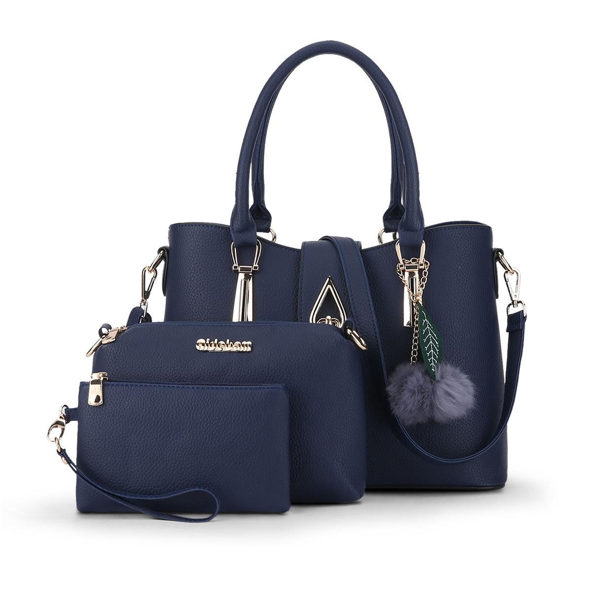 พร้อมส่ง ขายส่งกระเป๋าถือและสะพายข้างผู้หญิง เช็ต 3 ใบแต่งหยดน้ำ แถมพู่เชอรี่ แฟชั่นยุโรป Sunny-887 สีน้ำเงิน
