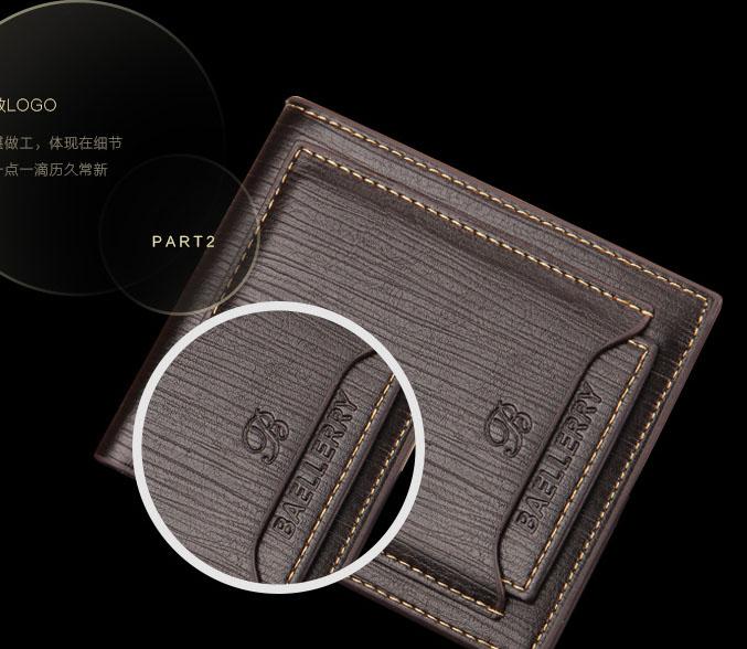 พร้อมส่ง กระเป๋าสตางค์ใบสั้นผู้ชาย นักธุรกิจมีช่องในSIM card และ ใส่นามบัตรยี่ห้อ baellerry รหัส BA-B236-1 สีน้ำตาล 2 ใบ ทรงนอน *ไม่มีกล่อง