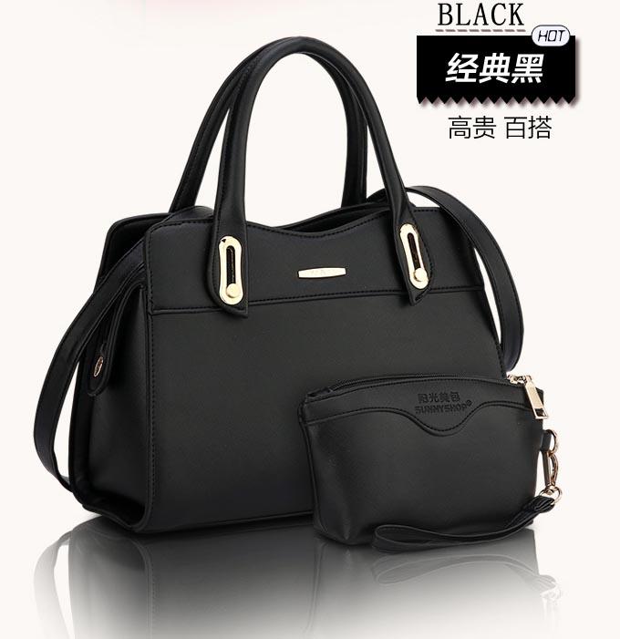 ขายส่ง กระเป๋าผู้หญิงถือและสะพายข้าง เซ็ต 2 ใบ แฟชั่นยุโรป Sunny-714 แท้ สีดำ