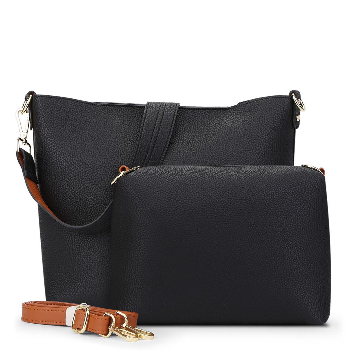พร้อมส่ง กระเป๋าถือและสะพายข้าง เรียบง่ายสะบายๆ เซ็ต 2 ใบ แฟชั่นเกาหลี Sunny-865 สีดำ