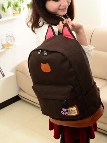 ขายส่ง กระเป๋าเป้ผ้าสะพายหลัง เป้นักเรียน School bag แต่งหูแมว แฟชั่นเกาหลี รหัส G-370 สีน้ำตาล 2 ใบ