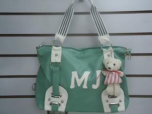 พร้อมส่งกระเป๋า MJ ผู้หญิงสะพายไหล่ แฟชั่นเกาหลี รหัส KO-222 สีเขียว *แถมตุ๊กตาหมีห้อย