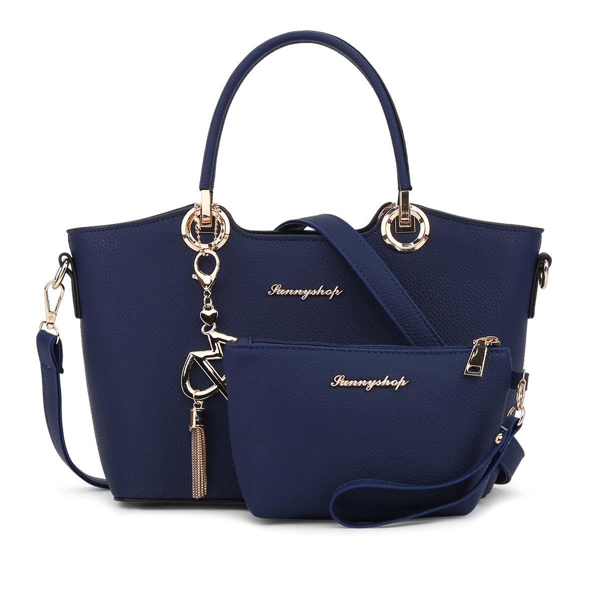 พร้อมส่ง กระเป๋าถือและสะพายข้าง เรียบหรูคุณนาย เซ็ต 2 ใบ แฟชั่นยุโรปอเมริกา Sunny-864 สีน้ำเงิน