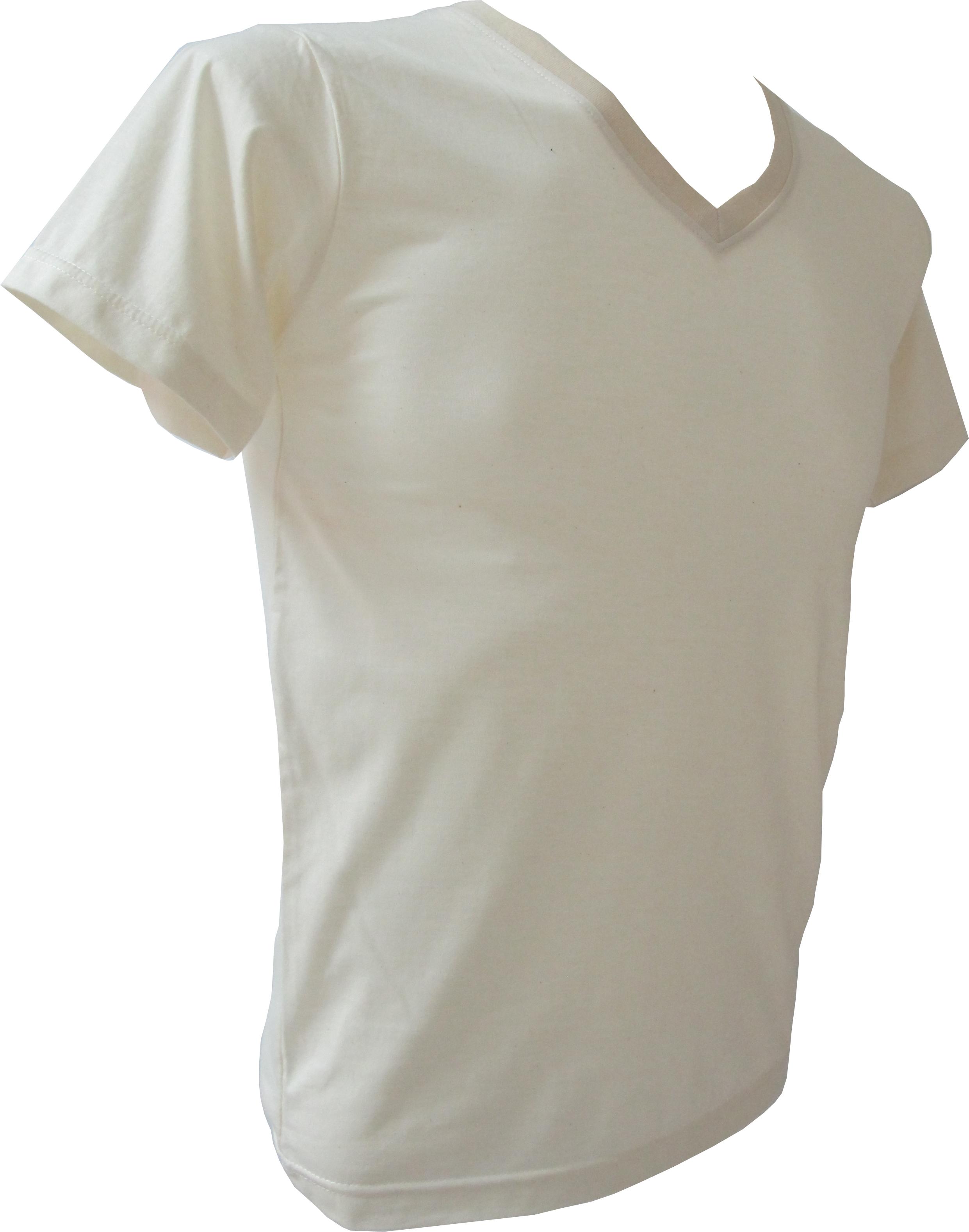 COTTON100% เบอร์32 เสื้อยืดแขนสั้น คอวี สีผ้าดิบ