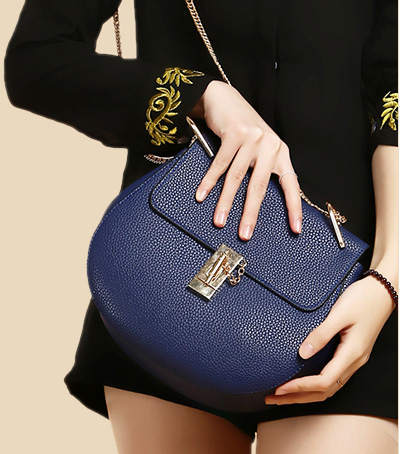 ขายส่ง กระเป๋าถือและสะพายข้าง สายสะพายโซ่ กระเป๋าหรูคุณนายแฟชั่นเกาหลี Sunny-652 แท้ สีน้ำเงิน