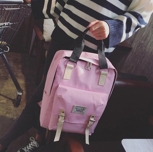 ขายส่ง กระเป๋าเป้ผ้าสะพายหลังใบใหญ่ เป้เดินทาง ใส่คอมพิวเตอร์ เป้นักเรียน แต่งเข็มขัดคู่ แฟชั่นเกาหลี Fashion bag รหัส NA-231 สีชมพูอ่อน