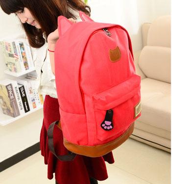 ขายส่ง กระเป๋าเป้ผ้าสะพายหลัง เป้นักเรียน School bag แต่งหูแมว แฟชั่นเกาหลี รหัส G-370 สีแดงแตงโม