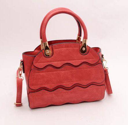 ขายส่งกระเป๋าผู้หญิงถือและสะพายข้าง ร่องคลื่นน้ำ แฟชั่นเกาหลี Fashion bag รหัส DU-928 สีแดง