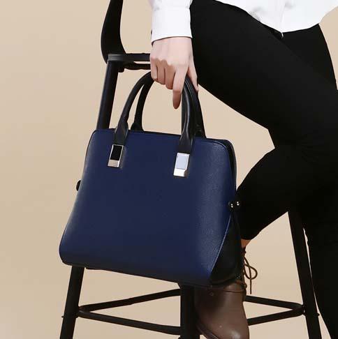 พร้อมส่ง กระเป๋าถือและสะพายข้าง กระเป๋าหรูคุณนายแฟชั่นเกาหลี Sunny-660 สีน้ำเงินเข้ม