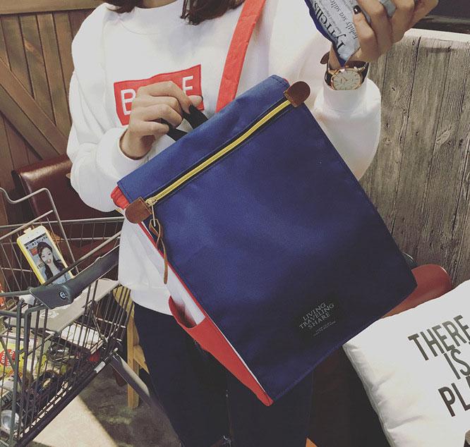 พร้อมส่ง กระเป๋าเป้ผ้า สะพายหลังใบใหญ่ สไตล์Anello-flap ติดโลโก้ LIVING TRAVELING SHARE แฟชั่นเกาหลี Fashion bag รหัส NA-436 สีทรีโทน