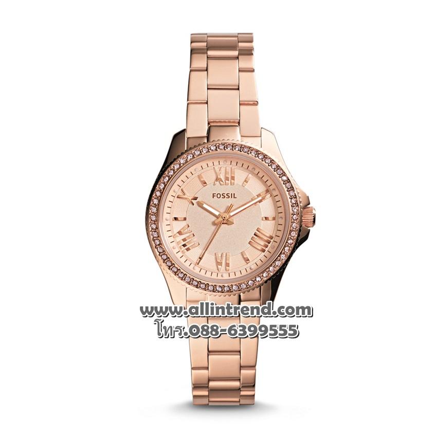 นาฬิกา Fossil รุ่น AM4578 Cecile Small Three-Hand Stainless Steel-Rose Gold นาฬิกาข้อมือผู้หญิง ของแท้ รับประกันศูนย์ 2 ปี ส่งพร้อมกล่อง และใบรับประกัน