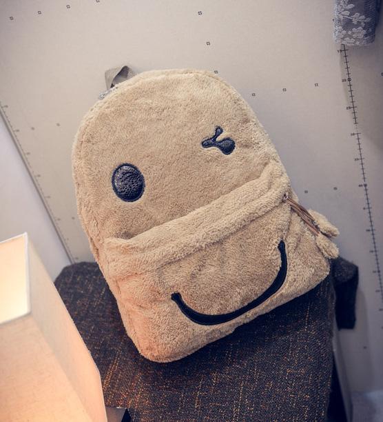 ขายส่ง กระเป่าสะพายหลังน่ารักนุ่มๆ ปากยิ้ม แฟชั่นเกาหลีน่ารัก Fashion bag รหัส G-927 สีกากี