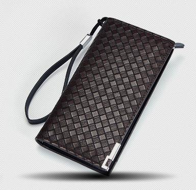พร้อมส่ง กระเป๋าสตางค์ใบยาว ใส่โทรศัพท์ ลายสานผู้ชายแฟขั่นเกาหลี รหัส Man-QBA017 สีน้ำตาลเข้ม