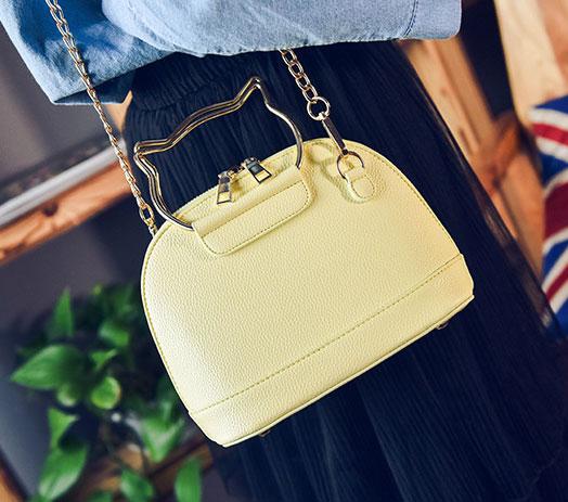 พร้อมส่ง ขายส่งกระเป๋าผู้หญิง ถือและสะพายข้างใบเล็ก หูจับแมว แฟชั่นเกาหลี Fashion รหัส NA-564 สีเหลือง