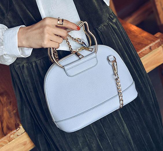 ขายส่งกระเป๋าผู้หญิง ถือและสะพายข้างใบเล็ก หูจับแมว แฟชั่นเกาหลี Fashion รหัส NA-564 สีฟ้า