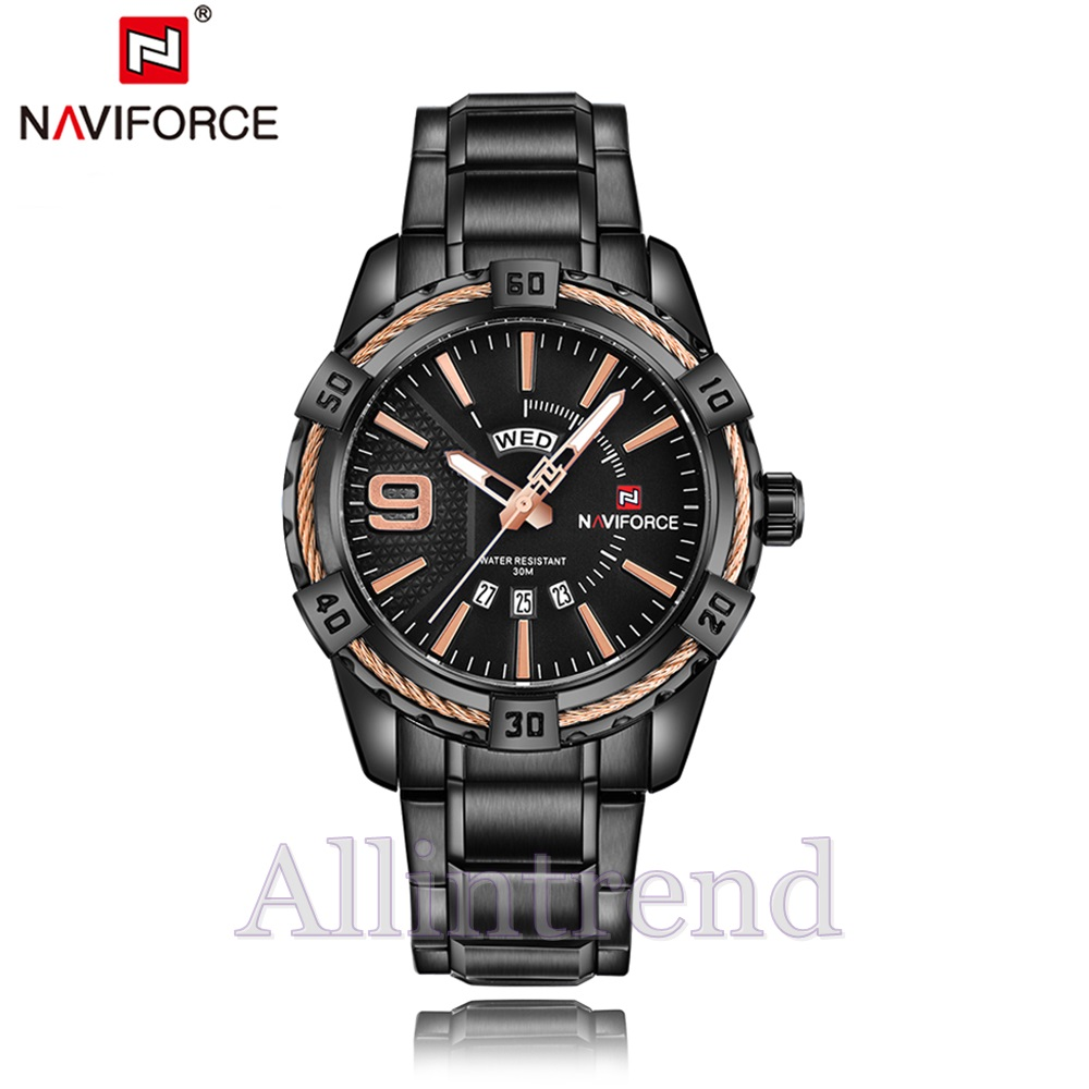 นาฬิกา Naviforce รุ่น NF9117M สีทองชมพู/ดำ ของแท้ รับประกันศูนย์ 1 ปี ส่งพร้อมกล่อง และใบรับประกันศูนย์ ราคาถูกที่สุด