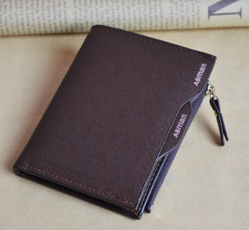 พร้อมส่งกระเป๋าสตางค์ผู้ชายใบสั้น นักธุรกิจ ทรงตั้ง ยี่ห้อ Asman แฟชั่นเกาหลี wallet รหัส GU-803-1 สีน้ำตาล ลายริ้ว
