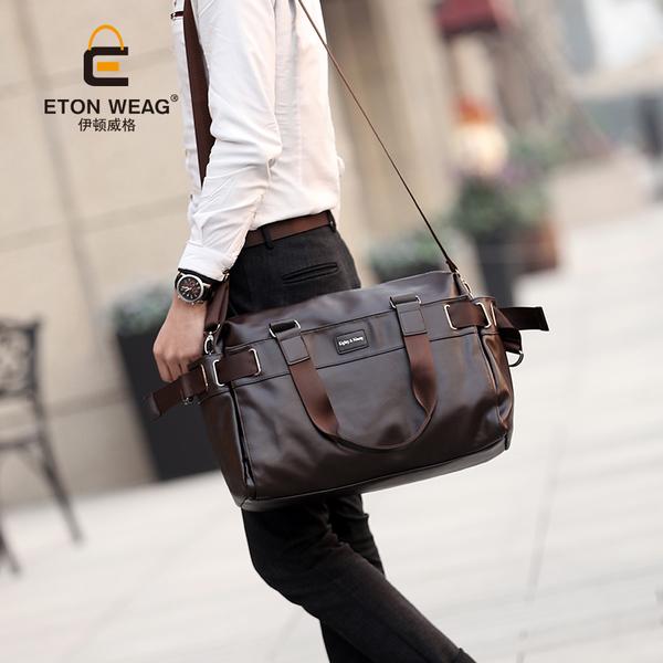 พร้อมส่ง กระเป๋าผู้ชายแฟขั่นเกาหลี รหัส Man-A502-S ใส่คอมพิวเตอร์ (ขนาดเล็ก 39cm) สีน้ำตาล