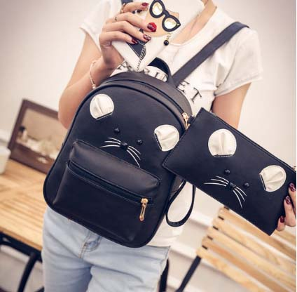 พร้อมส่ง กระเป่าสะพายเป้หลังนักเรียน แต่งหูแมว เซ็ต 2 ใบ แฟชั่นเกาหลีน่ารัก Fashion bag รหัส G-929 สีดำ