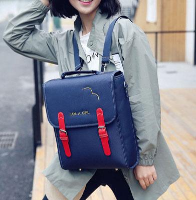พร้อมส่ง กระเป๋าเป้สะพายหลังนักเรียน ใส่tab ใส่คอมพิวเตอร์ ใส่หนังสือปรับสะพายข้างได้ แฟชั่นเกาหลี Fashion bag รหัส DU-374 สีน้ำเงิน