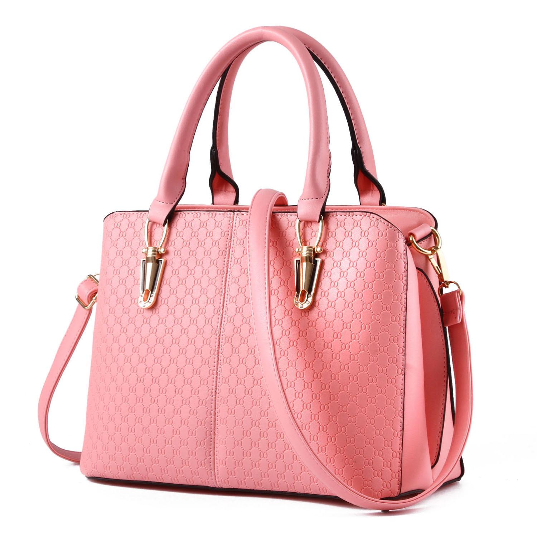 ขายส่ง กระเป๋าผู้หญิง ถือและสะพายข้างแฟชั่นสไตล์ยุโรป เรียบหรู แต่งลายOO รหัส KO-486 สีชมพู