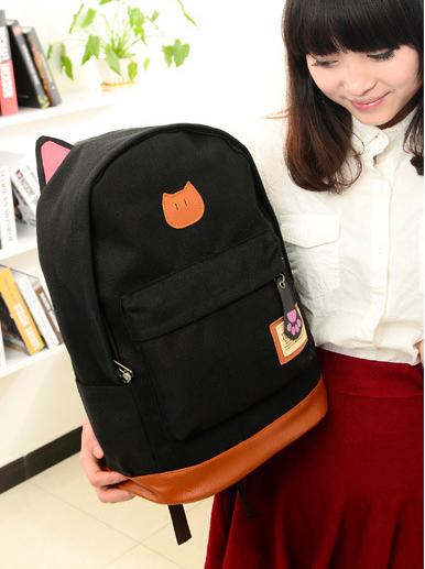 ขายส่ง กระเป๋าเป้ผ้าสะพายหลัง เป้นักเรียน School bag แต่งหูแมว แฟชั่นเกาหลี รหัส G-370 สีดำ