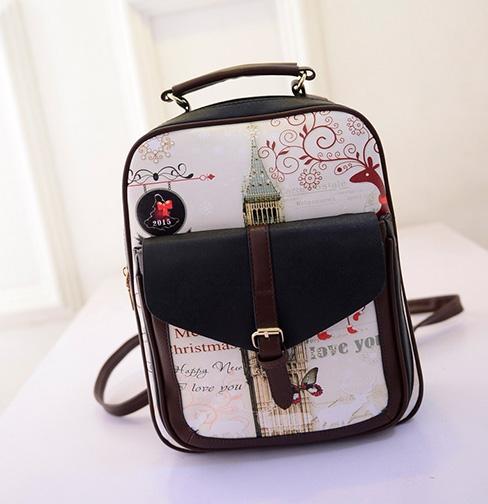 พร้อมส่ง กระเป๋าเป้หนัง สะพายหลังเป้นักเรียน ลายหอนาฬิกาแต่งเข็มขัดแฟชั่นเกาหลี Fashion bag รหัส GG-532 สีดำ