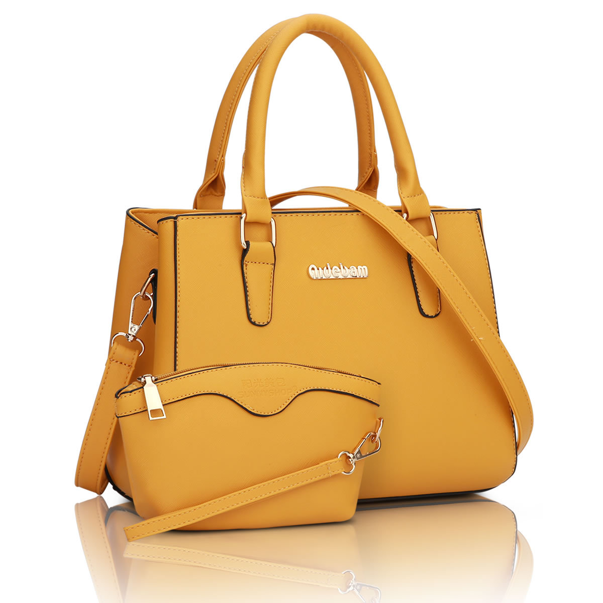ขายส่งกระเป๋าผู้หญิงถือและสะพายข้าง เซ็ต 2 ใบ ทำงานผู้หญิง เรียบหรู แฟชั่นเกาหลี Sunny-724 สีเหลือง